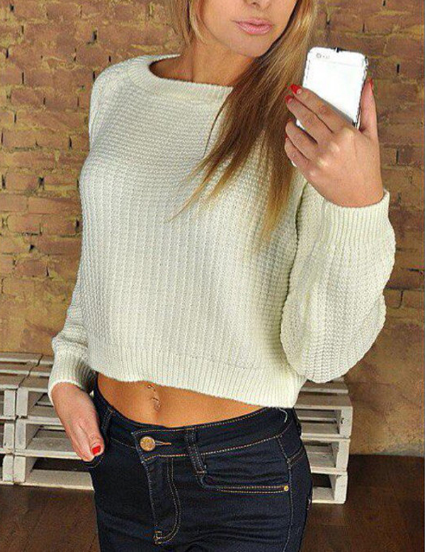 Women's Stylish Cropped Cozy Knitted Sweater Top