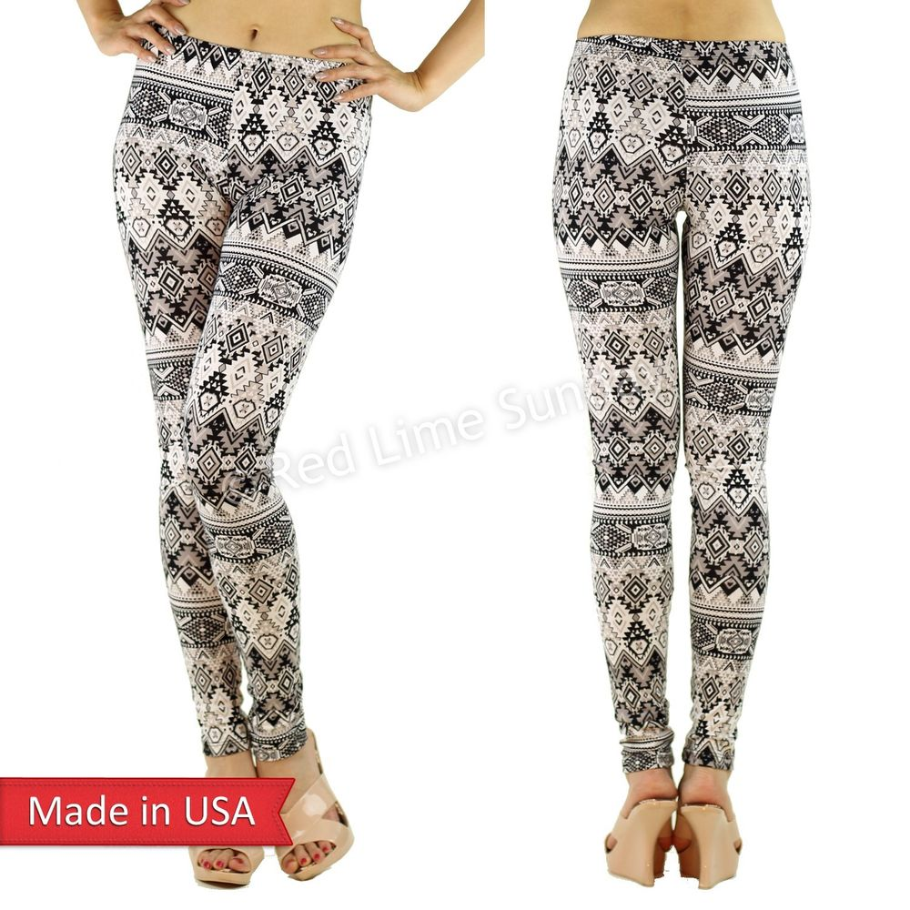 Women Cute Aztec Tribal Ethnic Pattern Cotton Print Leggings Tights Pants USA