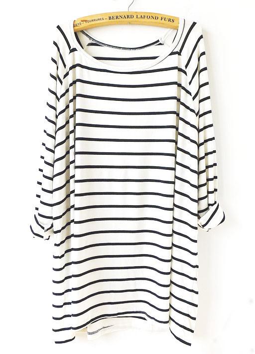 loses T-Shirt mit Streifen, weiß/schwarz-Sheinside