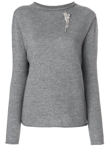 LIU JO jumper women embellished grey sweater