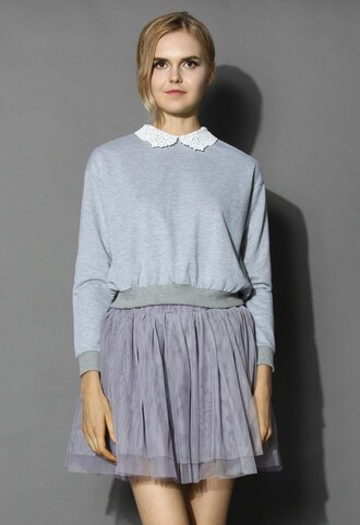 top chicwish crochet collar top fashion and chic simple grey top