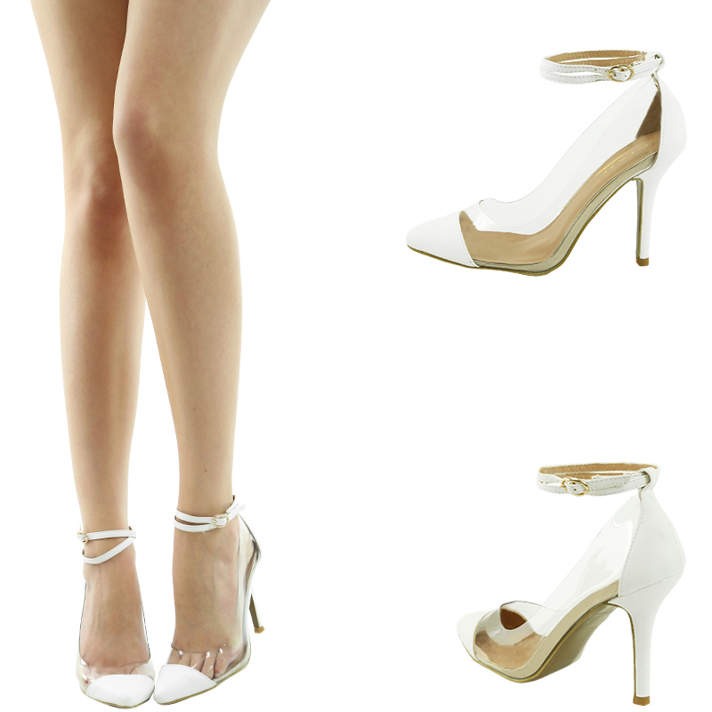 Clear Lucite Pointy Toe Med Stiletto Heel Ankle Strap Mary