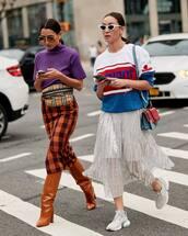 bag,checkered,belt bag,pencil skirt,boots,sneakers,sweater,shoulder bag,sunglasses