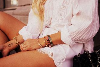 blouse girl fashion fashion inspo inspiration lace print shorts white cotton