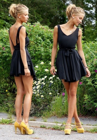 dress black short short dress mini dress fit and flare dress skater dress