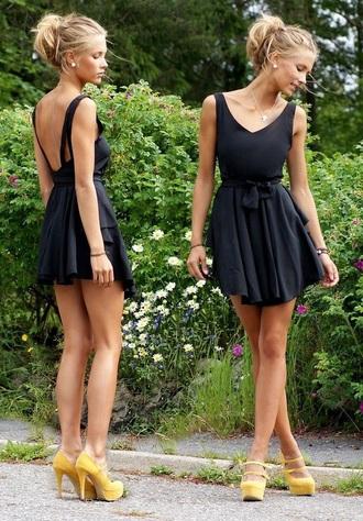 dress black short short dress mini dress fit and flare dress skater dress black dress pretty