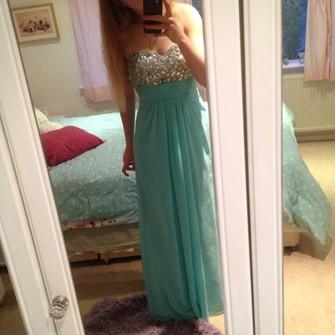 pink blue summer cool jewels middle light blue dress prom dress prom omg glam glitz chiffon strapless sweetheart neck line aqua plain maxi bright the middle