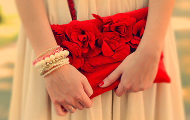 bag flowers red bracelets nude