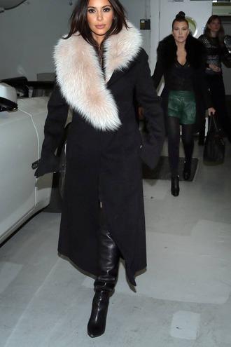 coat black coat fur coat long coat kim kardashian