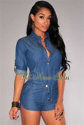 Dark Denim Button Down Long Sleeves Romper