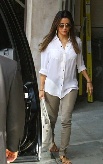 blouse eva longoria jeans shoes bag