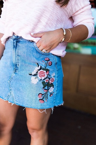 skirt floral jeans