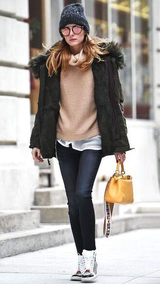 jacket black beanie beige sweater black puffer jacket skinny  jeans yellow handbag sneakers blogger sunglasses