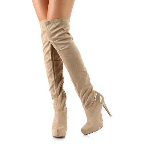 Cutesy originals – nelson velvet over the knee boots platform stiletto heel