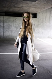 by annna,blogger,pants,sweater,sunglasses,shoes,leather pants,black sweater,white coat,black sneakers