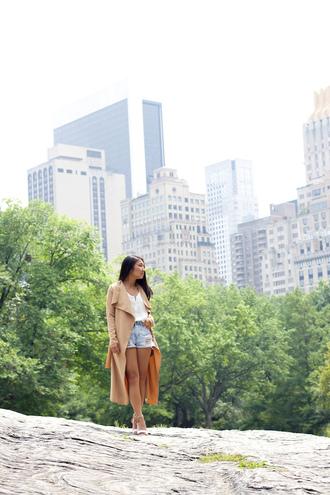 looks by lau blogger denim shorts duster coat