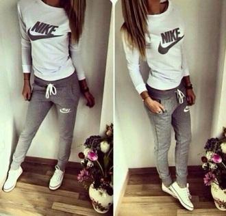 shirt nike converse white joggers grey swag teenagers tumblr