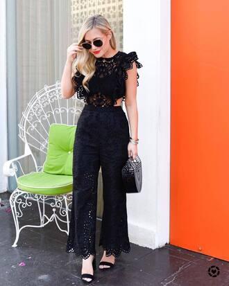 jumpsuit black jumpsuit lace jumpsuit tumblr sandals sandal heels high heel sandals date outfit bag all black everything shoes
