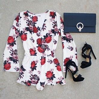 romper floral flowers roses ootd jumpsuit clutch bell sleeves black heels heels stilettos spring spring outfits gojane