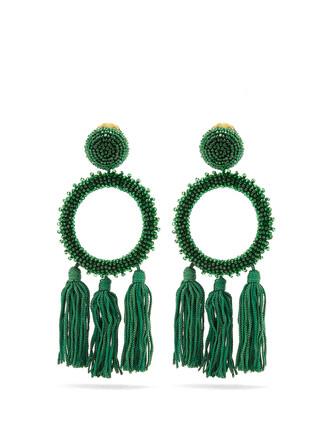 embellished earrings green jewels