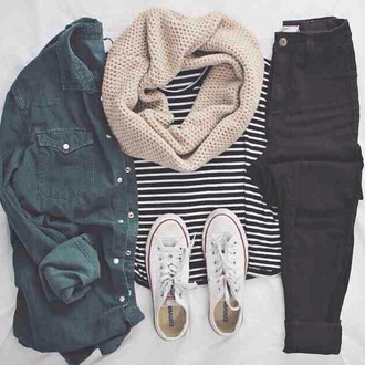 shirt green grey dark indie rock chick tumblr teenagers cute cool girl button casual comfy stripes denim alternative summer spring fall outfits winter outfits travel
