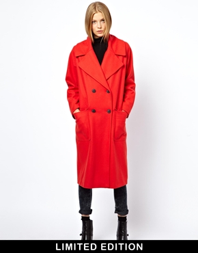Asos limited edition poppy red longline coat at asos