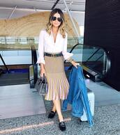 skirt,gucci belt,tumblr,pleated skirt,pleated,midi skirt,yellow,stripes,striped skirt,belt,gucci,logo belt,loafers,gucci loafers,gucci princetown,black loafers,shoes,black shoes,airport fashion,bag,grey bag,shirt,white shirt,sunglasses,jacket,denim jacket,blue jacket