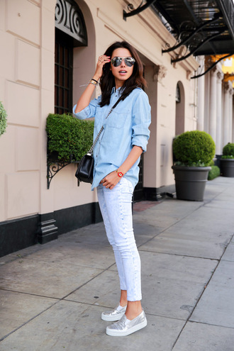 viva luxury blogger jeans leggings bag shoes sunglasses jewels silver loafers flats style h&m