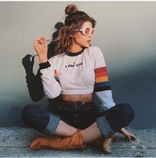 blouse,girly,girl,gigi hadid,rainbow,i dig you,quote on it,long sleeves,white,white top,crop tops,cropped