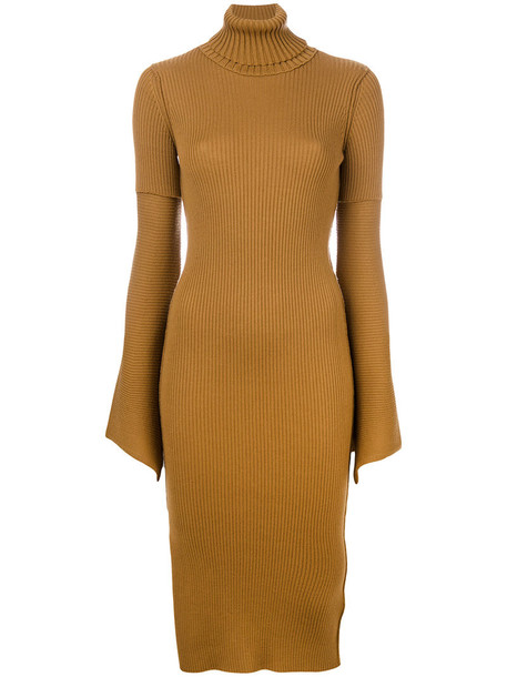 DONDUP dress bell sleeve dress women wool brown
