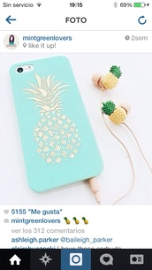 phone cover,pinneapple iphone case bluee,pineapple iphone 5c phone case mint green,white,earphones,print phone cover,iphone 5 case,pineapple