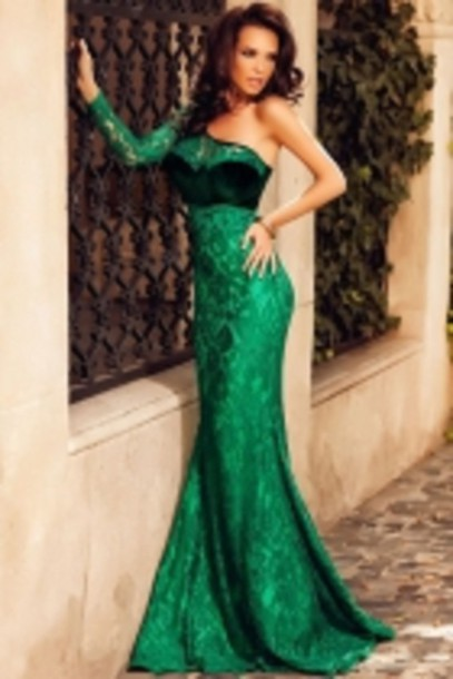 Dress: prom, lace, lace gown, black and green, mermaid, mermaid ...
