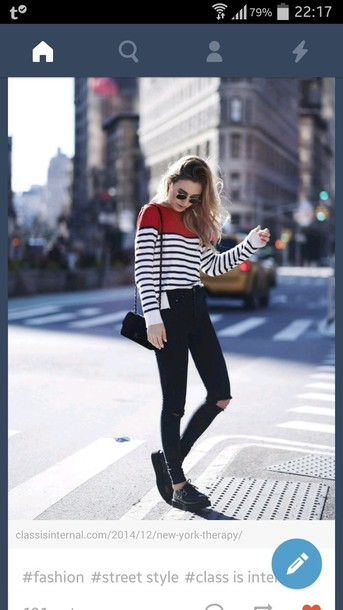 sweater red lines black white style fashion outfit look