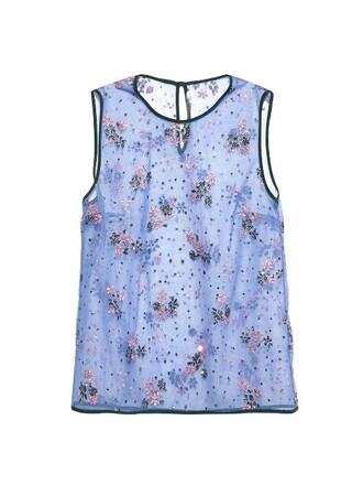 top embellished floral blue