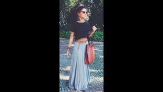 skirt blue black crop tops light blue pastel blue maxi skirt baby blue