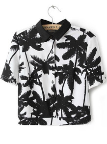 White Short Sleeve Palm Trees Print Crop Blouse - Sheinside.com