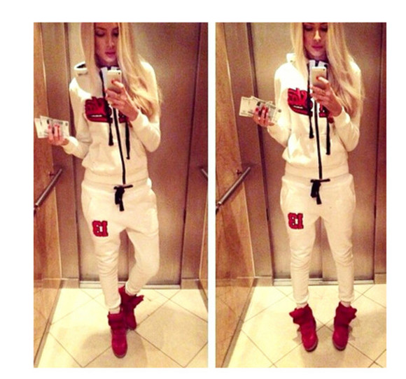 sportswear pants set two pieces white hoodie coat winter coat women set