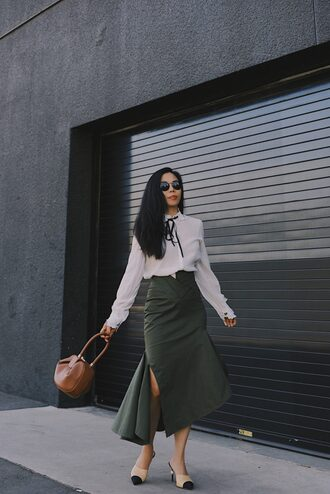 hallie daily blogger skirt blouse sunglasses shoes bag fall outfits midi skirt handbag white blouse