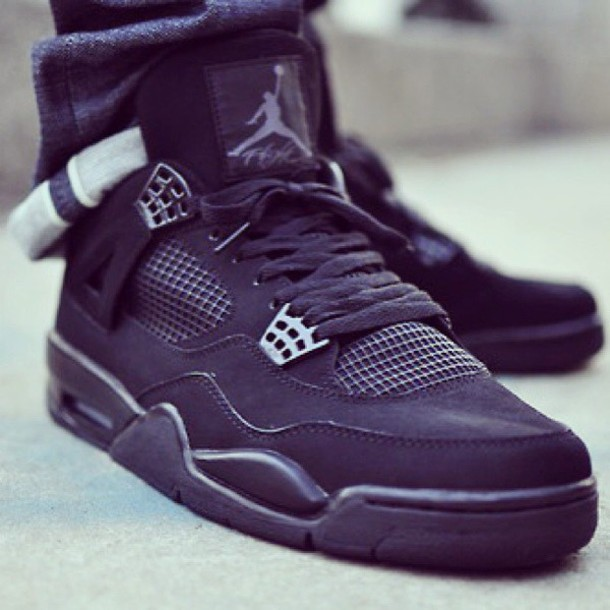 Shoes Jordan 4 Jordan 4 Black Cat All Black Everything Jordans Black Shoes Fashion