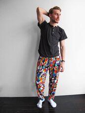 pants,retro,90s style,crazy pattern,bright
