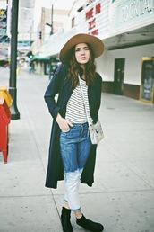 color me nana,blogger,coat,hat,acid wash,acid wash jeans,stripes,cropped pants,embellished denim