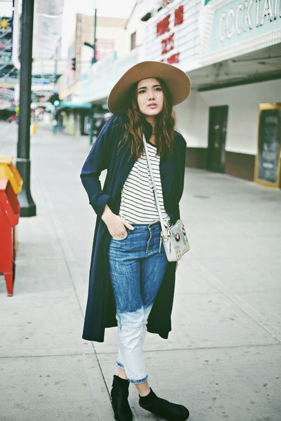 color me nana blogger coat hat acid wash acid wash jeans stripes cropped pants embellished denim