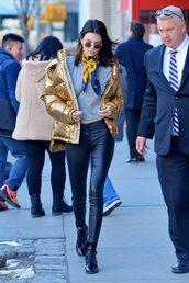jacket,gold,kendall jenner,pants,streetstyle,model off-duty,top,kardashians,streetwear