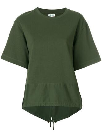 t-shirt shirt women drawstring cotton green top