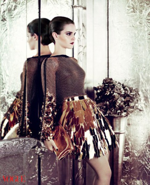 top haute couture emma watson sequins gold sequins sophisticated edgy vogue embellished metallic gold editorial