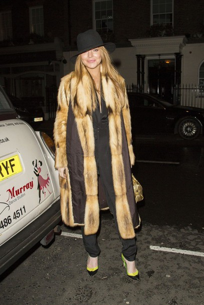 coat fur fur coat lindsay lohan winter coat hat