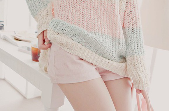 pink pale pale pink sweater kawaii cute sweaters pastel