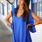 Blue v neck split sleeve loose chiffon dress -shein(sheinside)