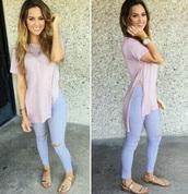 top,pink,pastel pink,slit,t-shirt,short sleeve