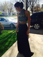 top,crop tops,crop,shirt,skirt,dress,2 piece prom dress,style,two-piece,prom,black dress,beaded,prom dress,two pieces prom dresses,high neck dresses,black stain evening dresses,sleeveless formal dresses,women summer dresses 2015,long prom dress,boho,girly,shoes,black,formal,two piece dress set,trendy,glamour,halter top,dressofgirl,elegant,beautiful,tan,fashion,vanessawu,dress black stones sequin,formal dress
